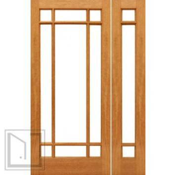 Pre-hung 9-Marginal French Brazilian Mahogany IG Glass Sidelight Door