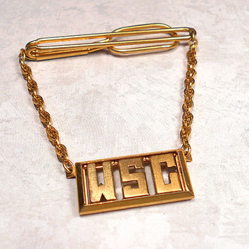 Vintage Cravat Holder Tie Bar with Chain Initials WSC Swank 1930s Art Deco Gold Tone Mens Formal Hipster Jewelry Gift