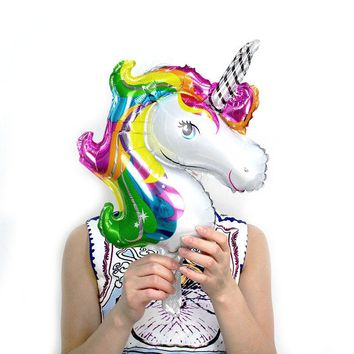 50pcs Mini Rainbow Unicorn party Foil Balloons Air Ballon for happy birthday party decoration kids Baby Shower girl horse globos