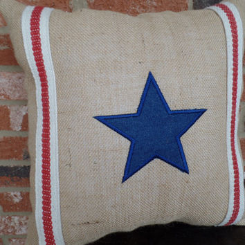 Patriotic Burlap  pillow  Star and Stripe, decorative pillow, 4th of July, rustic pillow, embroidered pillow