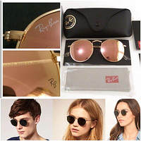 New Ray-Ban Unisex Round Metal Mirror, Blue\Pink\Yelow lens / Gold Frame, 50 mm
