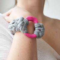 OOAK Knitted Designer Bangle Bracelet