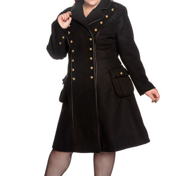 """Hell Bunny Gothic Black Steampunk Military Corset """" Imma"""" Coat"""