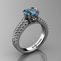 Classic 14K White Gold 1.0 Ct Blue Topaz Diamond Solitaire Engagement Ring R1027-14KWGDBT