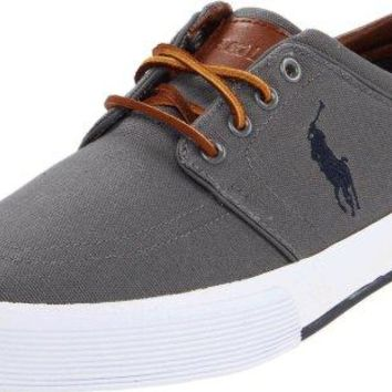 Polo Ralph Lauren Men's Faxon Low Sneaker, Grey, 12 D US