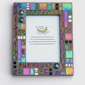 Mosaic Picture Frame, 5 x 7 Picture Size, Black + Gray + Iridescent + Silver Mirror + 3D Nuggets Handmade Stained Glass Mosaic Picture Frame
