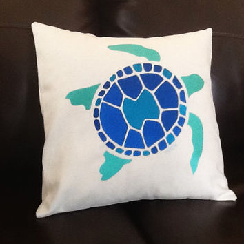 Blue Sea Turtle Original Design Embroidered Pillow  on Light Colored Fabric