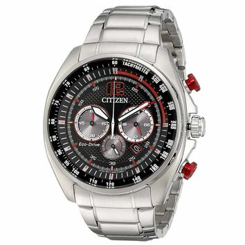 Citizen CA4190-54E Men's WDR Eco-Drive Chronograph Black Dial Stainless Steel Watch