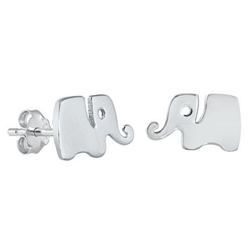 .925 Sterling Silver Tiny Elephants Ladies Kids and Baby Stud Earrings