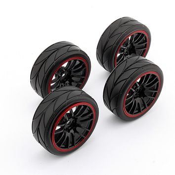 New 4PCS Rubber RC Racing Tires RC car parts car-styling Car On Road Wheel Rim Fit For HSP HPI 9068-6081 1/10 Free Shipping ZHD