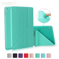 ZUANDUN 9.7 inch PU Leather Case for Apple iPad Pro 9.7'' Multi Folding Folio Stand Cover for iPad Pro 9.7 Case TPU Bottom Cover