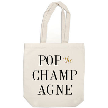 Pop the Champagne - black and gold glitter canvas tote bag, bridesmaid gift bag, bridesmaid bag, wedding party gifts