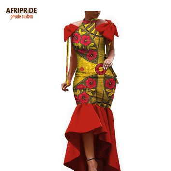spring african dress for women AFRIPRIDE sleeveless floor-length women trumpet party dress with bows on shoulder A1825004