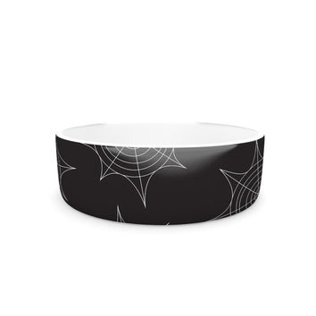 "KESS Original ""Spiderwebs - Black"" Pet Bowl"