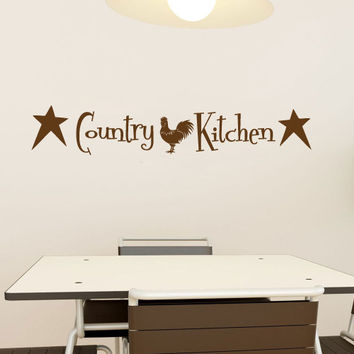 Country Kitchen with Primitive Stars and Rooster Vinyl Wall Words Decal Sticker Graphic