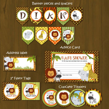 Safari Zoo Wild Animals Printable Baby Shower Package - Safari Baby Shower DIY Set - invitation, banner, cupcake toppers, placemat, games