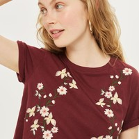 Short Sleeve Embroidered T-Shirt | Topshop