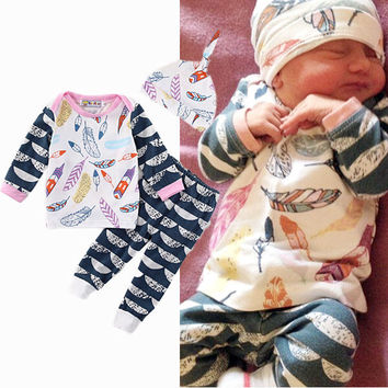 3Pcs Newborn Infant Baby Girls Boys Clothes Set Shirt Tops Long Sleeve Feather Pants Hats Outfit Baby Cute Clothing New