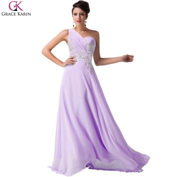 One Shoulder Prom Dresses Mermaid Grace Karin See Through Back Floor Length Chiffon Beads Long Party Dress Elegant Formal Gowns