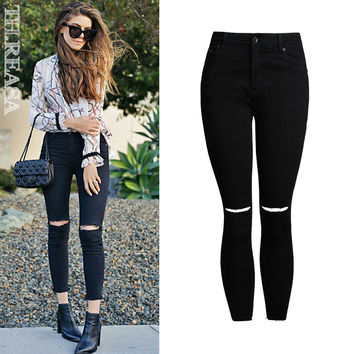 Women's Fashion Hot Sale Ripped Holes Slim Stretch Tassels Denim Pencil Pants [11474123535]