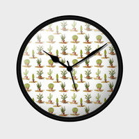 Potted Cactus Plants Pattern Wall Clock | Artist : Seema Hooda