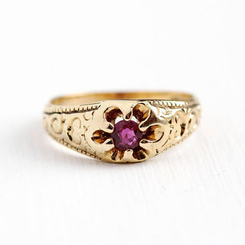 Created Ruby Ring - Antique 14k Yellow Gold Vintage Size 6 Alternative Engagement - 1900s Fine Belcher Art Nouveau Pink Lab Gem Jewelry