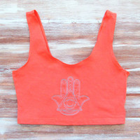 Evil Eye Crop Tank-Hamsa Crop Top-Boho Crop Top
