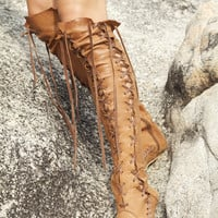 Antique Tan Knee High Leather Boots with Tan Laces for Pre Order