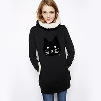 Black Cat Print Hooded Sweater