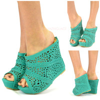 Mavery Sea Green Perforated Slip On Wedge-OUT OF BOX