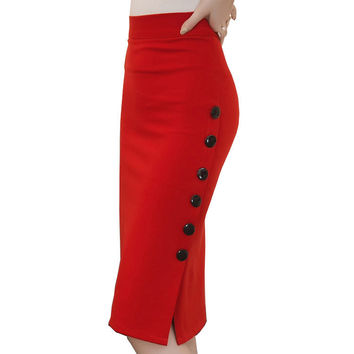 Plus Size New Fashion 2016 Women Skirt Midi Skirt Slim OL Sexy Open Slit Button Slim Pencil Skirt Elegant Ladies Skirts 2 Colors