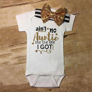 Funny Ain't no Auntie golden Short Sleeve Baby Girl Clothes Tiny Cottons Baby unisex Jumpsuit Bodysuit Short Sleeve Baby Onesuit