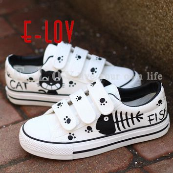 Women Casual Shoes Breathable Cute Cat Painted Canvas Shoes