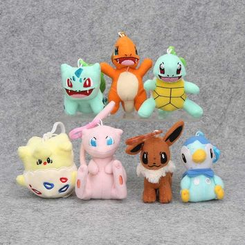 8pcs/set 9-12cm Togepi Mew Piplup Bulbasaur Eevee Squirtle Charmander Plush Toy Stuffed Plush Doll pendant keychain with hook