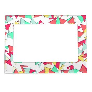 Modern Pink, Yellow, Teal, & Coral Geo Triangles Picture Frame Magnets