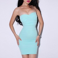 Bqueen Sexy Solid Color Dress Blue LN034L - Designer Shoes|Bqueenshoes.com