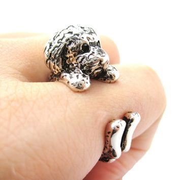 Realistic Toy Poodle Puppy Dog Shaped Animal Wrap Around Ring in Shiny Silver | US Sizes 4 to 8.5