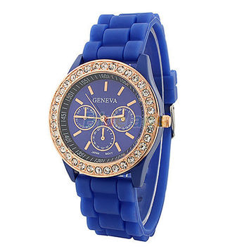 Women Girl Geneva Silicone Quartz Watch Golden Crystal Stone Jelly Silicone Wrist Watch