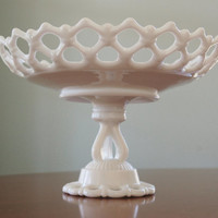 Westmoreland Milk Glass Pedestal Fruit Bowl, Doric Pattern, White Glass Compote Bowl with Lace Edge, Shabby Chic Wedding Table Centerpiece