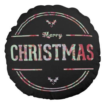 Merry Christmas Greeting Round Pillow