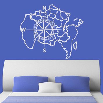 Wall Decal Vinyl Sticker Art Decor Design Map Compass Rose Nautical Navigate Ship Ocean North West South East Bedroom (m1362)