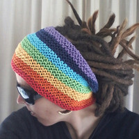 Rainbow hand crocheted dreadband, headband for dreads/dreadlocks - FREE SHIPPING