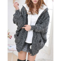 Grey Womens Knitting Bat Sleeve Hooded Pocket Cardigan Sweater One Size MM0455b = 1827659588