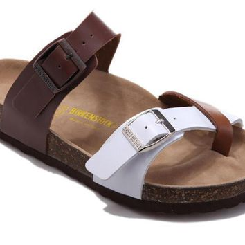 2017 New STYLE Birkenstock Summer Fashion Leather Cork Flats Beach Lovers Slippers Casual Sandals For Women Men Couples Slippers size 36-45 mac591
