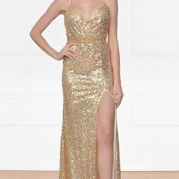 Indie XO City Of Light Gold Sequin Spaghetti Strap Sleeveless Deep V Neck Thigh Slit Low Back Maxi Dress Gown