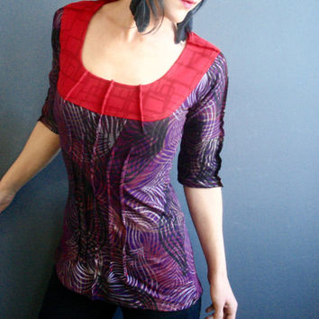 Mesmerizing - iheartfink Handmade Hand Printed Womens Mixed Prints Scoop Neck Purple Red Jersey Top