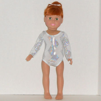 American Girl Doll Clothes White and Silver Leotard with Chevron Stripes fits 18 inch Dolls