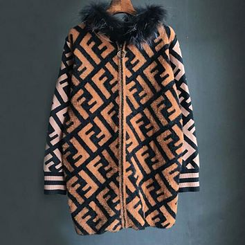 FENDI Fashionable Women Loose F Letter Jacquard Mohair Knit Hooded Cardigan Sweatshirt Jacket Coat
