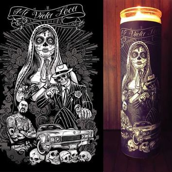 Sugar Skull, Day of the Dead, Dia De Los Muertos Decorations, Brown Pride Art, Chicano, Prayer Candle, Gift Idea,  Best Scented Candles