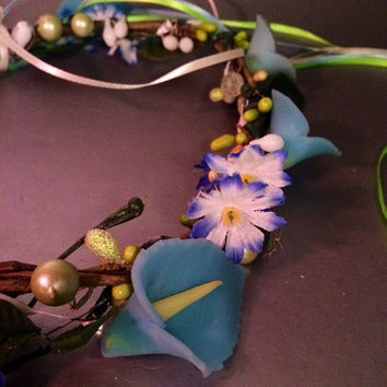 Flower crown, blue, colorful, festival, blue, hair vine, garden wedding, summer headband, edc, rave outfit, accessories, coachella, fairy